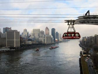 Roosevelt tram from Queens Boro Bridge in New York