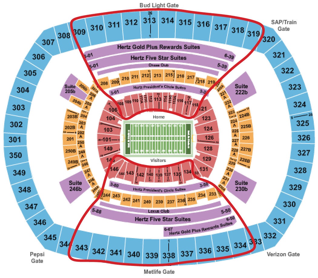 New York Jets Tickets - Metlife Seating Chart