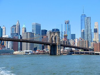 NYC Ferry in New York - Brooklyn Bridge