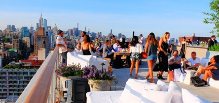 Visit a rooftop lounge